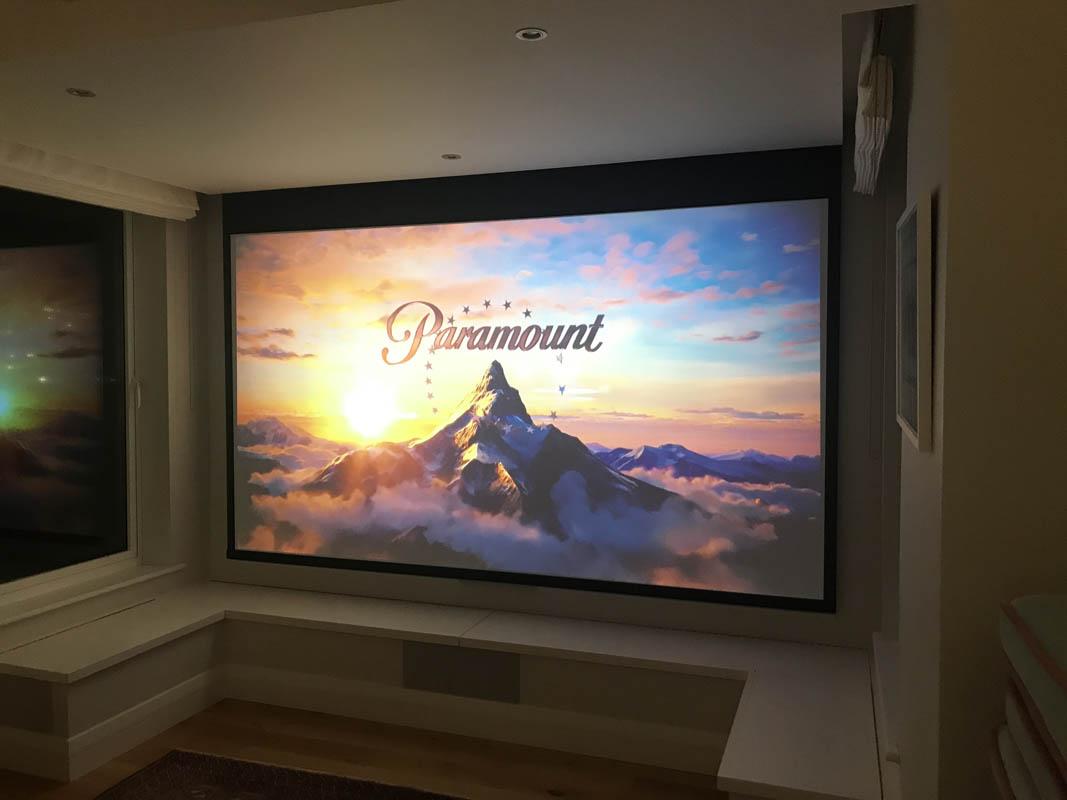 Home Cinema Setup in Bay Window Showing Paramount Logo